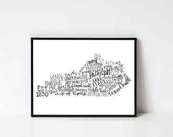 Hand lettered PADUCAH Kentucky Word Art Print // 8x10