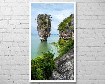Phuket art print, vertical wall art, Thailand canvas print, framed asia print, james bond island, art for narrow space, Khao Phing Kan, Tapu