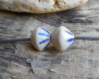 Spinning beads, ceramic, blue and white, craft, handmade