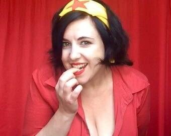 Wonder Woman headscarf  -  gold poplin with red lycra star