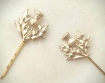 2 Scottish Thistle Hair Pins Leaf Bobby Pins Leaf Hair Clips Wedding Hair Pins Bridal Hair Accessories Scottish Wedding Scottish Jewelry