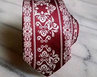 Silk Mens Skinny Necktie/Tie-Men's Red Skinny Tie with White Floral Pattern, Silk Necktie, Silk Tie, Mens Necktie, Mens Tie