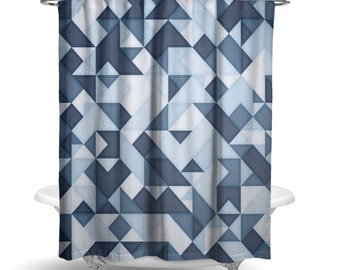 "Shower Curtain/ Navy Blue Geometric Watercolor Triangles / Bath Curtain/ Standard Length (71""x74"") FABRIC SHOWER CURTAIN - Made To Order"