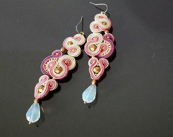 Bridesmaid earrings, bride earrings, long drop earrings, Light pink earrings, wedding jewelry, chandelier earrings, statement earrings