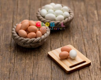Dollhouse Miniatures Handcrafted Clay Chicken and Duck Egg Food Cooking Material Decoration Supply - 1/12 Scale