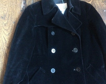 SALE WAS 145 Ladies vintage black velvet aquascutum coat. Double breasted 8 button plus 1 at collar. Size 10 12 Bust 42""