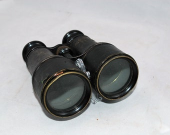 Vintage Chevalier Opticien Binoculars Made in Paris France Leather Wrapped Brass with Good Optics     01306