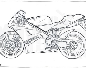 Ducati 916 Motorcycle - Colouring Page - Motorcycle Illustration - Coloring In