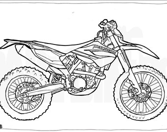 Husaberg TE350 Motorcycle Colouring Page - Motorcycle Illustration - Motorcycle Coloring - Digital Download