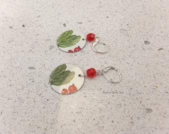 Garden Fruit Earrings, Tin, Glass, Silver Plated Wires