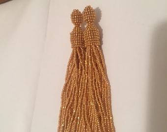 Gold Beaded Tassel Earrings,Oscar de la Renta Earrings,Gold Studs,Beads Charlotte Earrings,Long Tassel,Sparkling Beads,Bijouterie