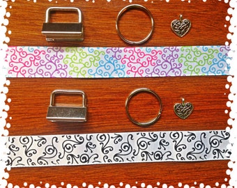1 Inch Wide Swirl Theme  Choice of Pattern Key Fob with Charm