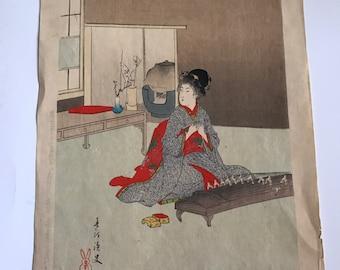 """1800's Authetic Japanese Woodblock print by MIYAGAWA SHUNTEI. """" Koto, 1800's"""""""
