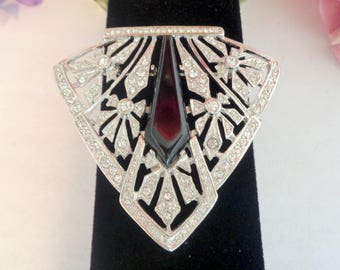 Vintage LES BERNARD Art Deco Rhinestone Pin. This Pin is GORGEOUS. Measures 2.5 by 2.5 inches. This Pin you will wear for Life!