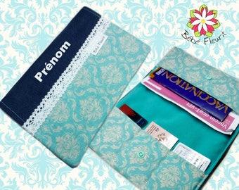 Immunization booklet health cover personnalized  prénom damask turquoise cotton