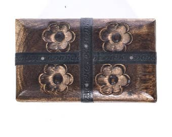 Vintage Asian wooden box with handcarved flowers and metal details