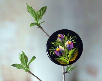 Metal brooch, Hand-painted brooch, painting, Flower brooch, Gift for her mom, Purple flower,