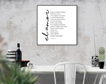 El Amor | Love is patient love is kind | JW| Spanish | 1 Corinthians | Bible Verse Print | anniversary gift | wedding gift | 0064