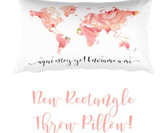 Rectangle Throw Pillow  | JW | SKE Gift Present | Home Decor | Pioneer | Elder's | Woman's | Men's | Here I am Send me | World Map | Coral