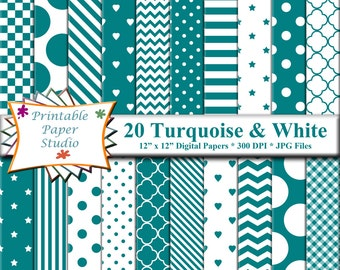 Turquoise Digital Paper Pack, Turquoise Blue Colored Paper, Digital File, Instant Download Turquoise Blue Digital Scrapbook Element 12x12
