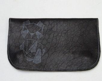 Tobacco leather and origami panda print