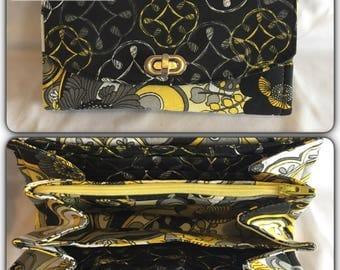 Flowers black wallet