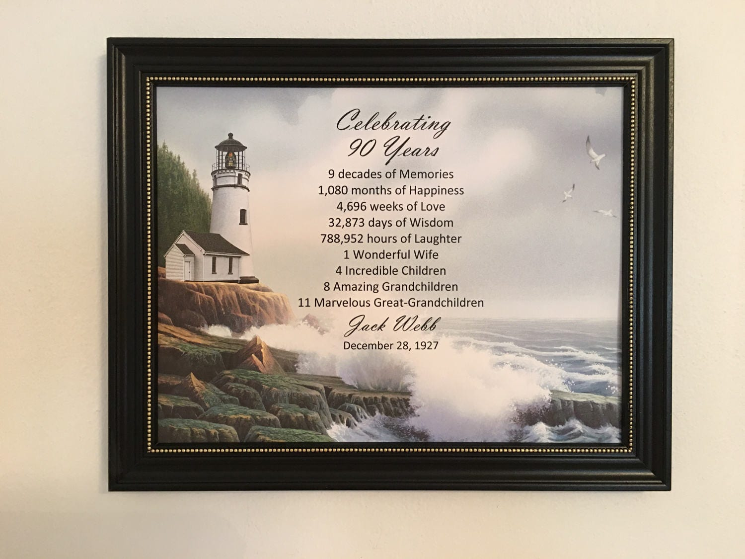 90th Birthday Gift Birthday Gift Idea Framed Born In 1927