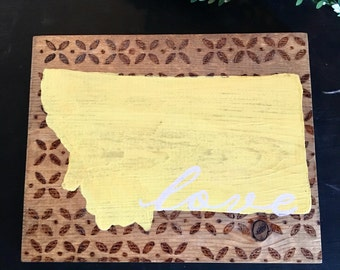 Choose Your State, Wood Burning Detail, Wooden State Sign, Wooden State Sign, Painted State Sign