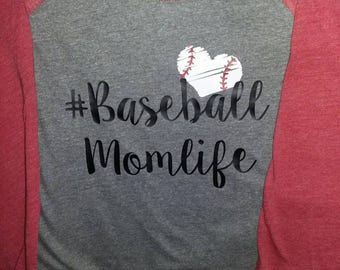 Baseball mom 3/4 sleeve raglan T-shirt.
