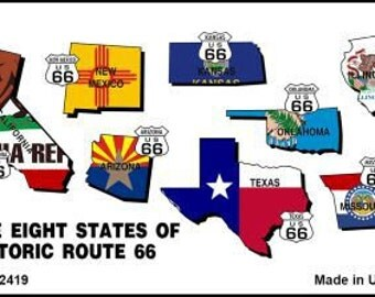 Route 66 Historic Eight Flags Magnet