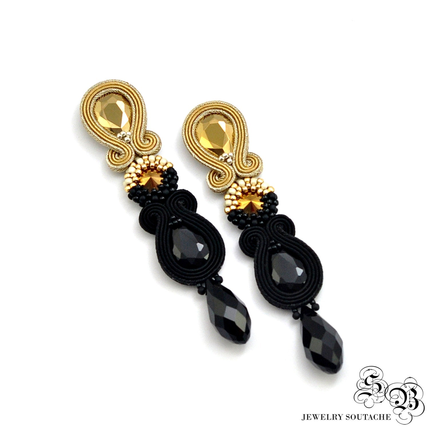 dangle drop earrings black gold earrings clip on