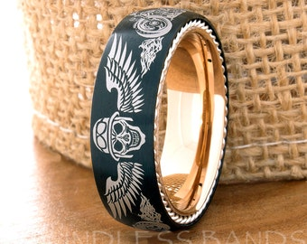Black Tungsten Ring,Wedding Band,Tungsten Band,Biker Ring,Black Rose Ring,Tungsten Ring,Mens Tungsten Ring,Motorcycle Ring,Anniversary Ring