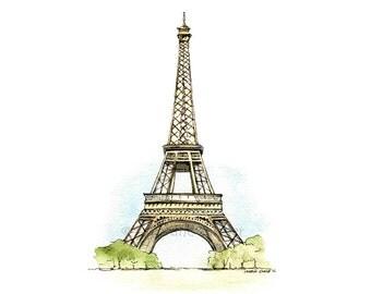 """8x10"""" Eiffel Tower Watercolour Print."""