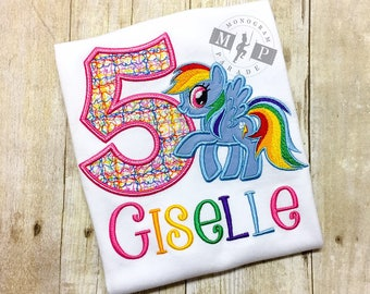Little pony birthday shirt or bodysuit - pony birthday shirt - monogram pony - rainbow pony - any year available