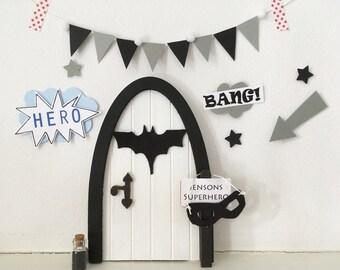 Batman superhero door/ fairy door for boys!