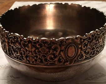 Antique Victorian sterling silver Gorham Bowl with Heavily Carved Repousse Top with Faces, Cherubs, Scrolls and Flowers, dated 1890 # 295
