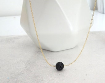 Aromatherapy lava rock necklace, diffuser necklace, Dainty Lava rock Necklace, Essential Oil jewelry, Aromatherapy necklace, lava necklace