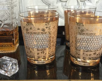 Vintage Gold Rocks Glasses / Pasinski Kashmir Double Old Fashioned  Glasses / Set of Four Gold Lowball Glasses