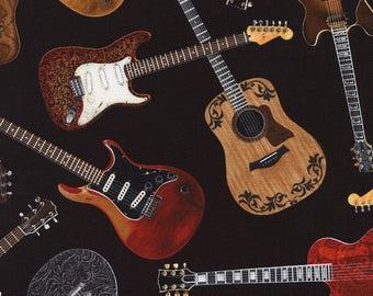 Guitar Fabric / Tossed Guitars C1611 / Guitars on Black Timeless Treasures Music fabric / Fat Quarters and Yardage /  Cotton Fabric