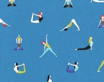 Yoga Fabric / Yoga Poses on Blue Fabric / Good Postures / Material / Michael Miller cx7531 / Cotton Fabric / Yardage and Fat Quarters