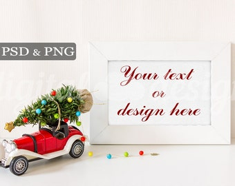 Christmas Tree on Red Vintage Car Styled Stock Photography Horizontal Frame Mockup Download  Product Digital Background