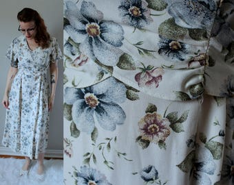 Vintage Tea Party Dress // 1940's Inspired White Midi- Dress with Blue and Blush Tea Rose Pattern // Butterfly Sleeves & Wrap Bodice Size M