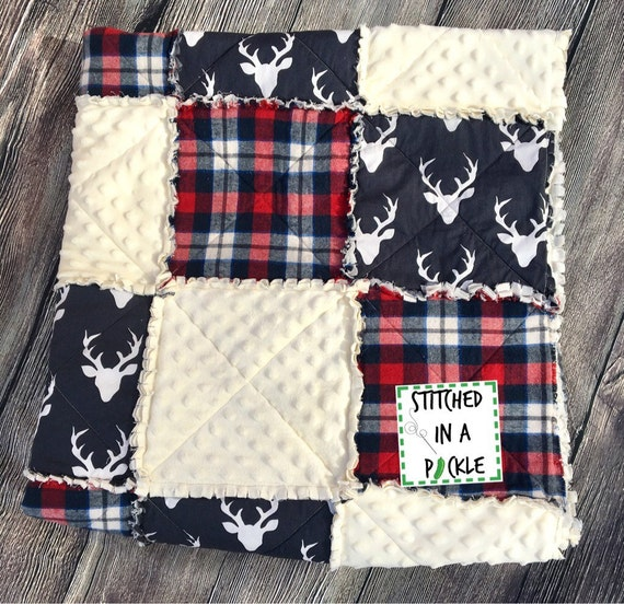 Plaid Baby Quilt: Baby Boy Rag Quilt Plaid Rag Quilt Deer Rag Quilt Woodland