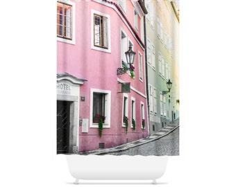 Pink Shower Curtain, Travel Bathroom Accessories, Prague Home Decor, Czech Travel Bathtub Curtain, Long Shower, Euro Decor