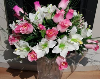 Luxury Roses and Lilies artificial bouquet arrangement. Premium flowers beautifully wrapped