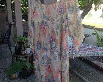 Vintage flowy gauze hippie dress
