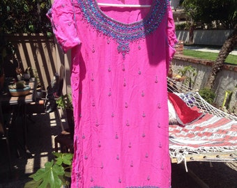 Bright pink Indian dress w beading