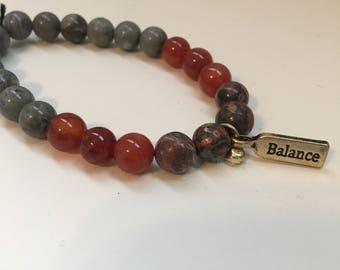 Red and grey balance bracelet