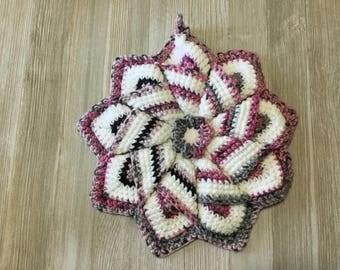 Crochet star potholder,  Bright potholders, crochet flower potholder, handmade hot pad, crochet flower trivet,  Crochet trivet