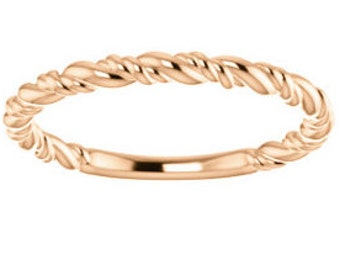 Gold Rope Ring, Gold Rope Wedding Band, Twisted Gold Ring, Twisted Gold Wedding Band, Rope Ring, Twisted Rope RIng,  Stacking Ring